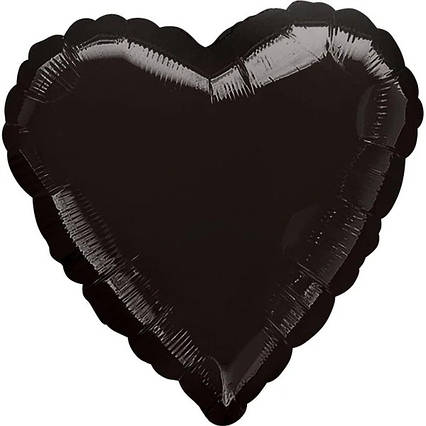Куля фольгований серце чорне 45 см Anagram США