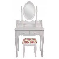 Туалетный Столик косметический женский столик в спальню с стульчиком трюмо для макияжа МДФ Белый