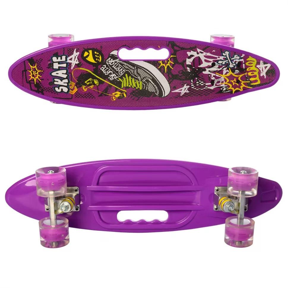 Скейт Пенниборд с рисунком и ручкой, светящиеся колёса, фиолетовый (MS 0461-2)