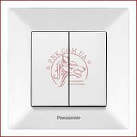 Вимикач подвійний білий Panasonic arkedia slim 250V 10A (WNTC0009-2WH) (480100189)