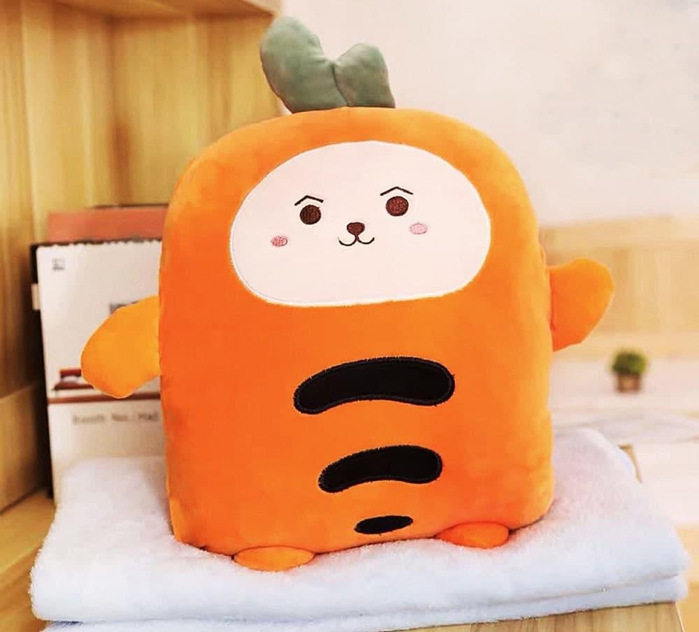 Іграшка-плед, подушка Морквина 3 в 1 помаранчева, мікрофібра