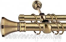 Карниз для штор металевий ЛЮКСОР подвійний 19+19 мм 3.0 м Античне золото