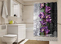 """Фото Шторка для ванной """"Капля красоты. Фиолет"""""""