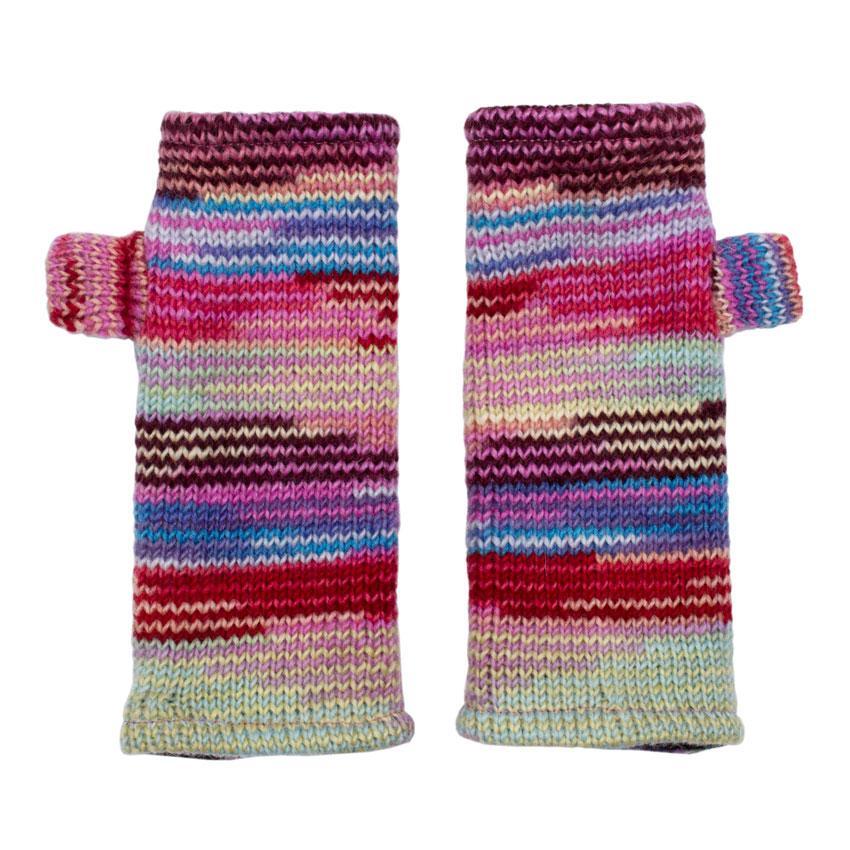 Вязаные перчатки без пальцев полосатые