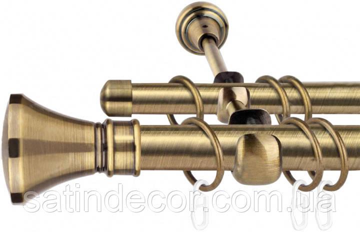 Карниз для штор металевий ЛЮКСОР подвійний 19+19 мм 2.4м Античне золото