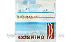 Фотохромные линзы коричневого и серого цвета минеральные (стекло) Corning Франция