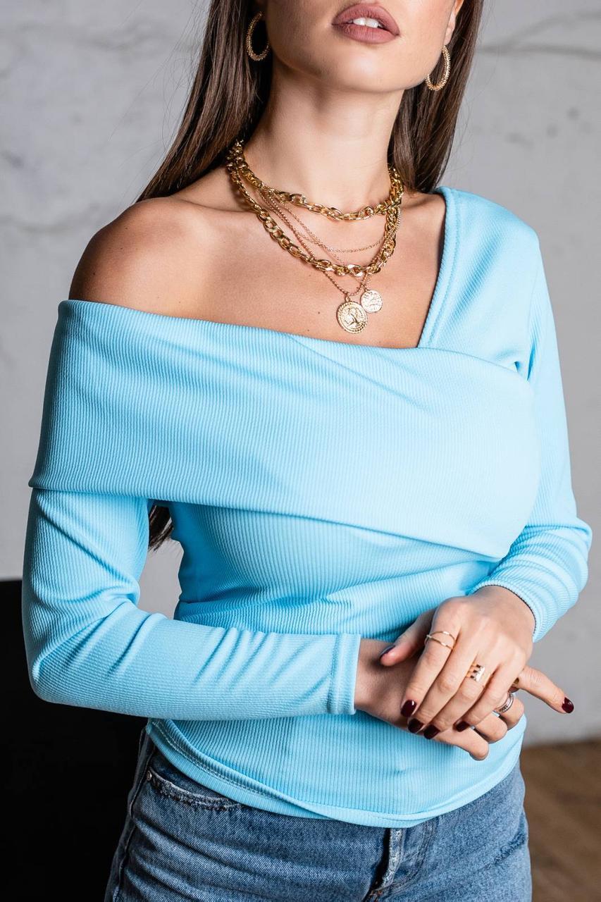 Модный джемпер с открытыми плечами 42-48 (в расцветках)