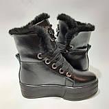 36,39 р. Зимние женские кожаные сапоги ботинки на меху полусапожки Черные, фото 5