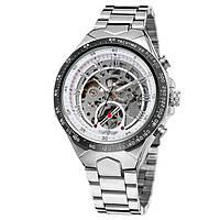 Мужские часы Winner 8067 Silver-Black-White Red Cristal
