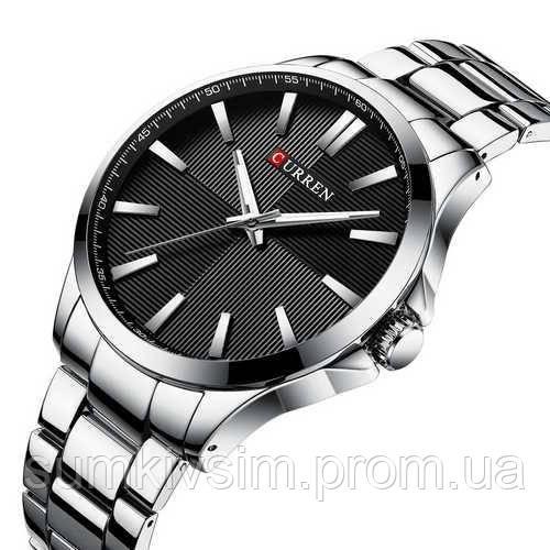 Мужские часы Curren 8322 Silver-Black