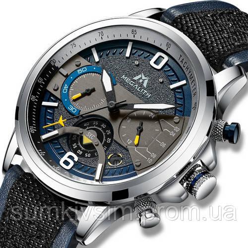 Мужские часы Megalith 8083M Blue-Silver