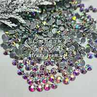 Термо стрази Преміум ss50 Crystal AB (10mm) 140шт (гладкий клей)