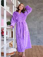Махровый халат женский длинный банный халат S фиолетовый Турция