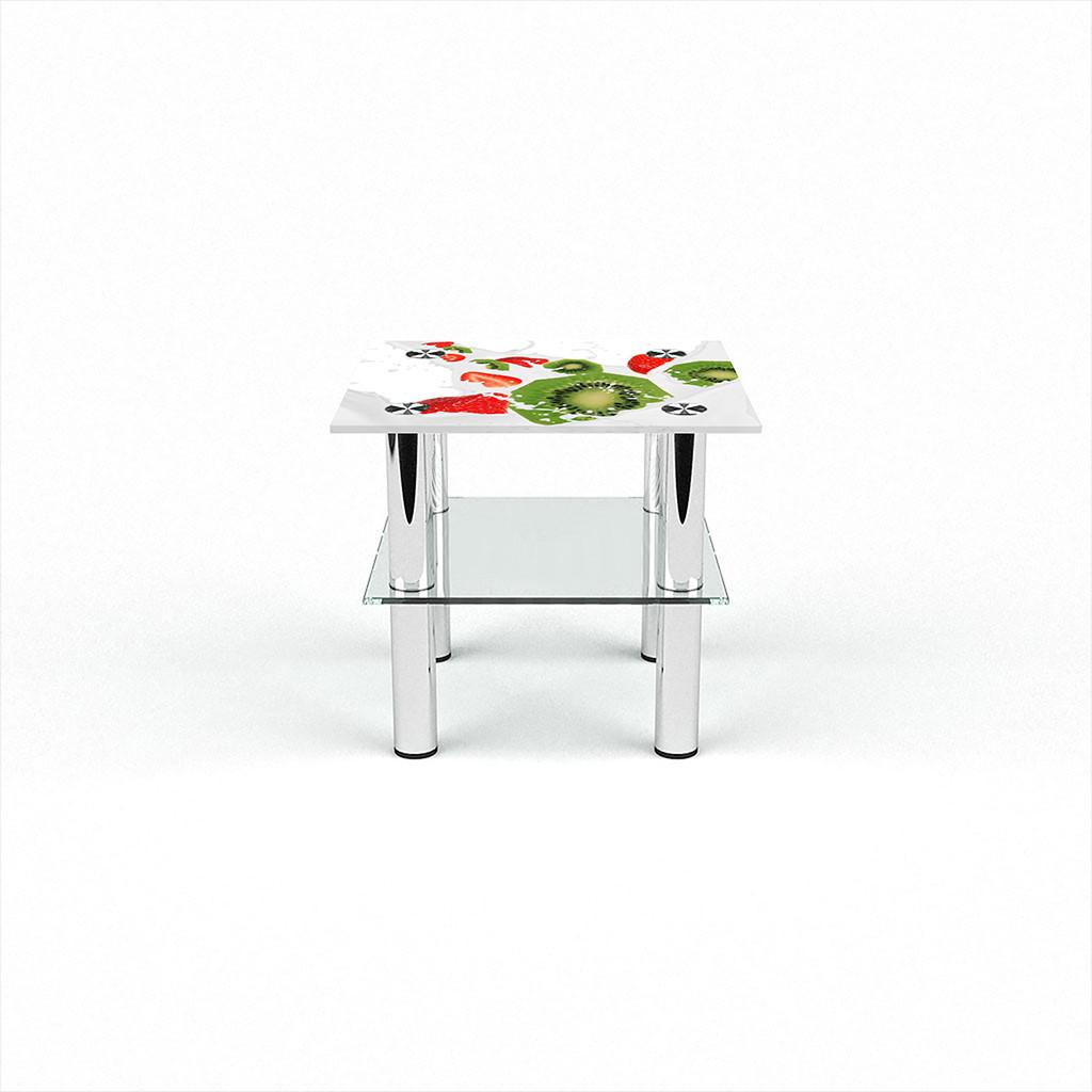 Стеклянный  стол журнальный столик из стекла БЦ Стол Квадратный с полкой с фотопечатью Fruit&Milk