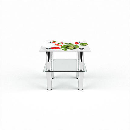 Стеклянный  стол журнальный столик из стекла БЦ Стол Квадратный с полкой с фотопечатью Fruit&Milk, фото 2