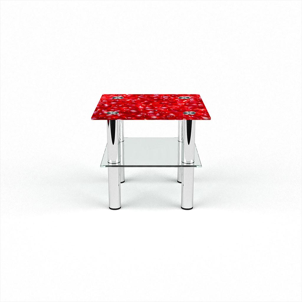 Стеклянный  стол журнальный столик из стекла БЦ Стол Квадратный с полкой с фотопечатью Garnet