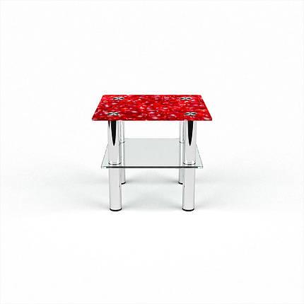 Стеклянный  стол журнальный столик из стекла БЦ Стол Квадратный с полкой с фотопечатью Garnet, фото 2