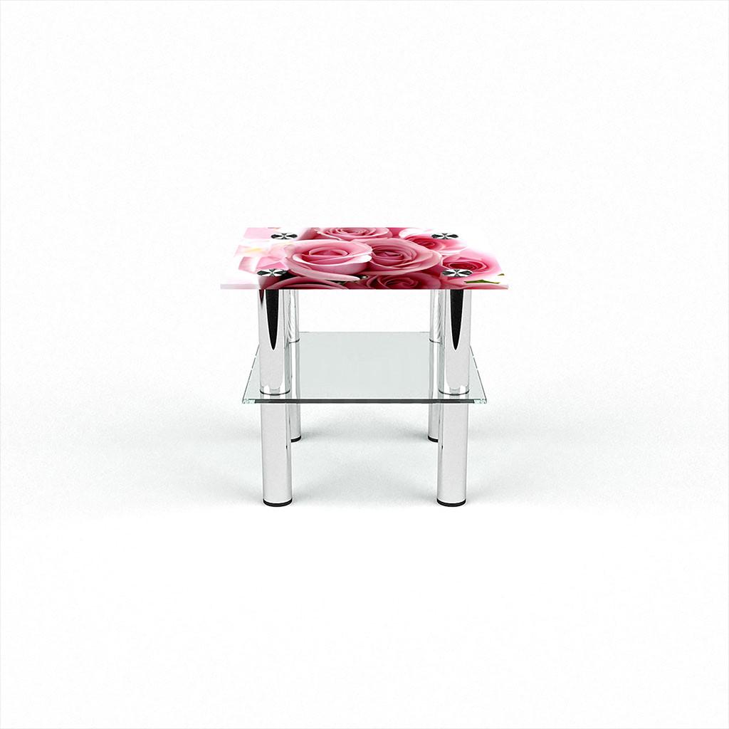 Стеклянный  стол журнальный столик из стекла БЦ Стол Квадратный с полкой с фотопечатью Pink Roses