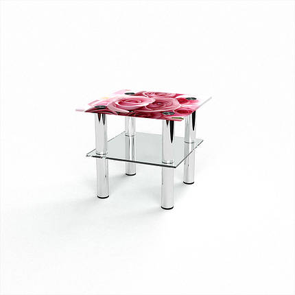 Стеклянный  стол журнальный столик из стекла БЦ Стол Квадратный с полкой с фотопечатью Pink Roses, фото 2