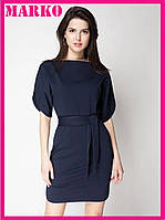 Стильное женское платье Malkovich (Темно-синий) с поясом.