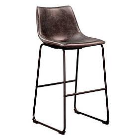 Стул барный Техас M SDM,  основание металл черный, экокожа, цвет шоколадный высота 65 см КОД: hub_QTcc48761