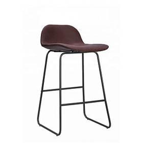 Стул полубарный Бостон M SDM,  металлическое основание с подножкой, экокожа, цвет шоколадный, высота 62 см