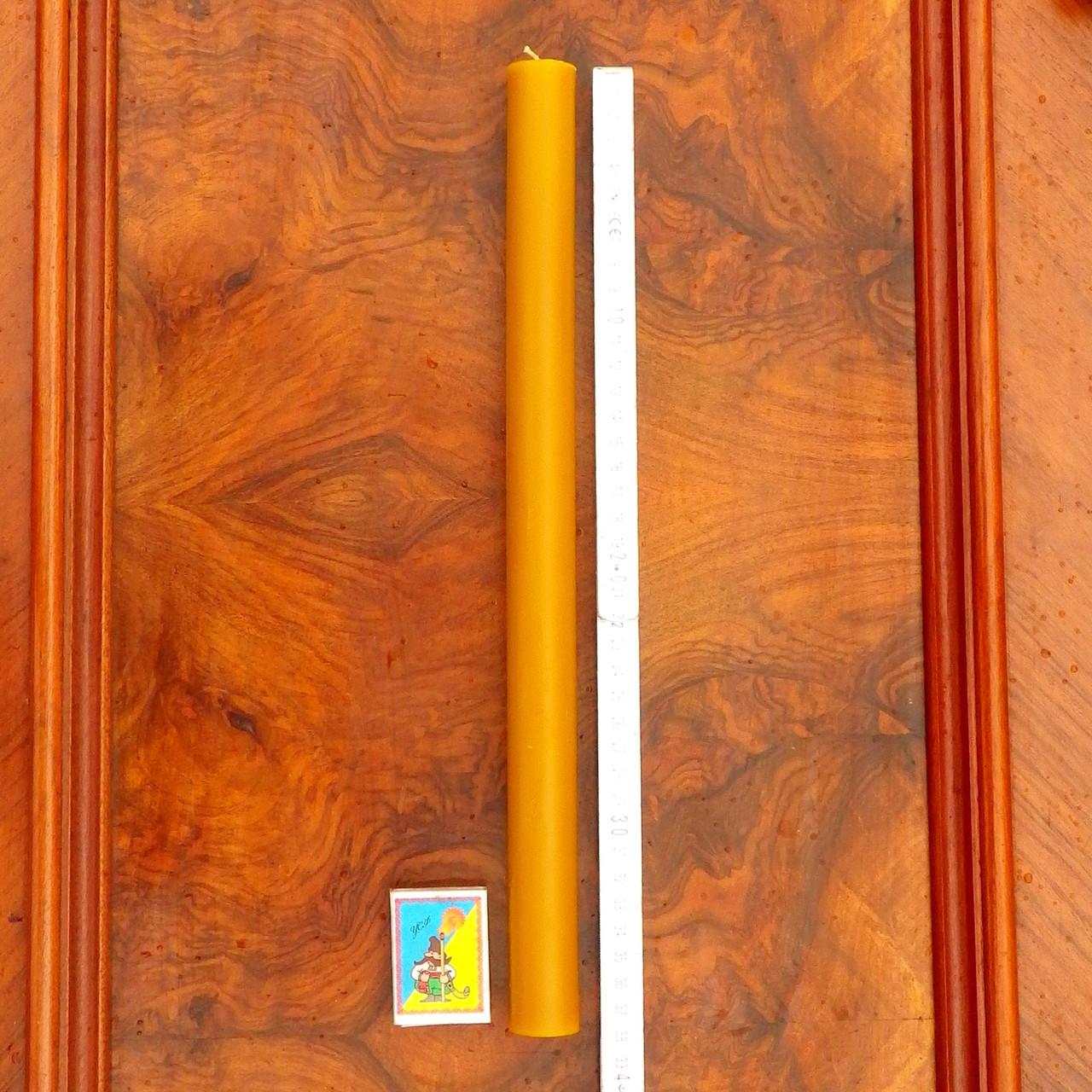 Цилиндрическая восковая свеча D28-300мм из натурального пчелиного воска