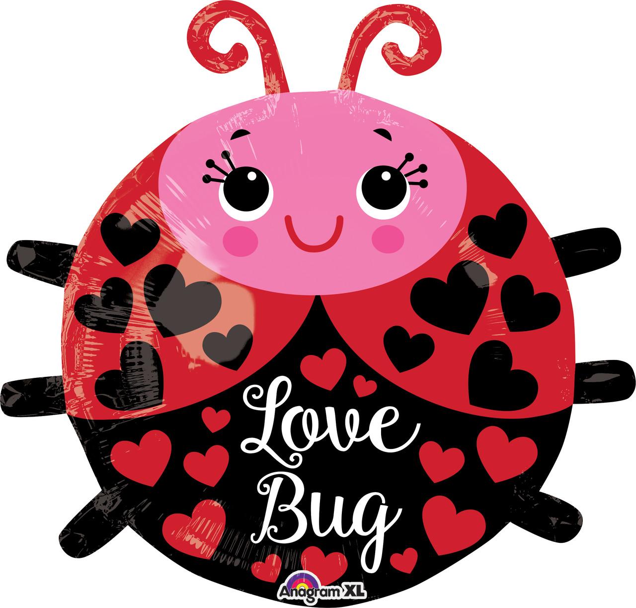 """К 18"""" I Love You Bug  Foil Balloon. Фольгированный шар Божья коровка Я люблю тебя, В УП"""