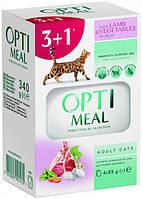 Влажный корм Optimeal пауч для кошек с ягненком и овощами 85 гр набор (3+1) 340г