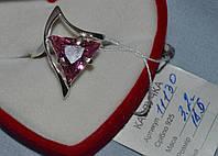 Серебряное кольцо 925 пробы с розовым цирконом, фото 1