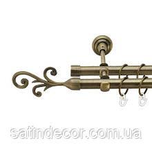 Карниз для штор металевий СТРОП подвійний 19+19 мм 1.6 м Античне золото