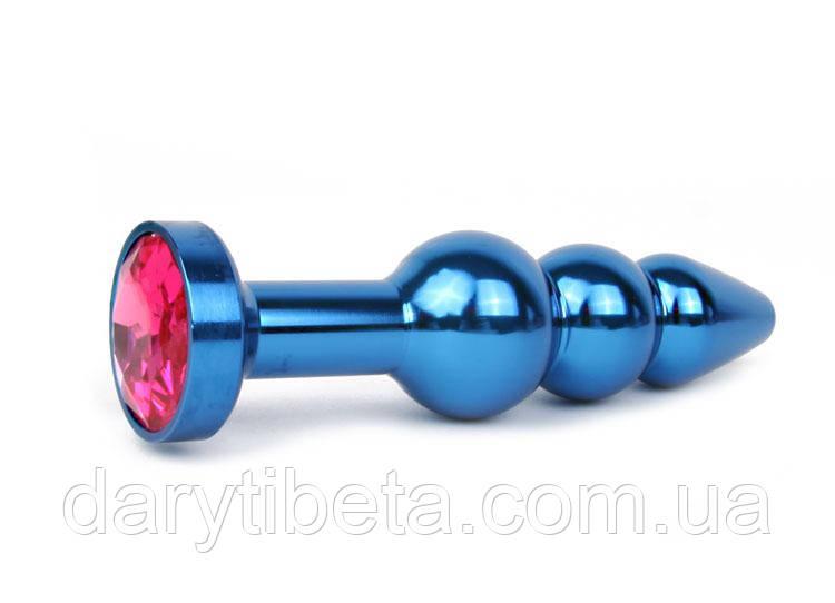 АНАЛЬНА ВТУЛКА СИНЯ, L 113 мм D 22x25x29 мм, вага 100г, колір кристала рубіновий
