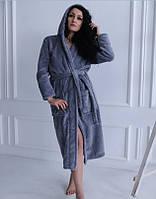 Махровый халат женский длинный банный халат S серый Турция