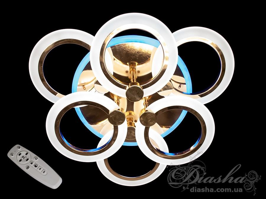Плоские светодиодные люстры Diasha A8022/3+3 G led dimmer 3 color