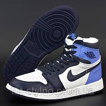 Женские зимние кроссовки в стиле Nike Air Jordan 1 Retro High, кожа, (с мехом), синий, черный, белый, Вьетнам