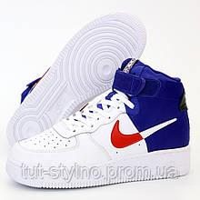 Мужские кроссовки в стиле Nike Air Force 1 High 07 LV8, кожа, синий, белый, Вьетнам