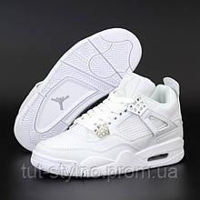 Женские кроссовки в стиле Nike Air Jordan 4 Retro, кожа, белый, Вьетнам