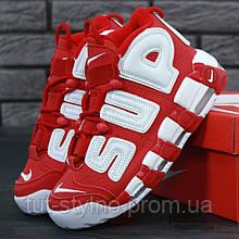 Женские кроссовки в стиле Nike Air More Uptempo x Supreme, красный, белый, Вьетнам