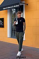 Спортивный весенний мужской костюм тройка, кофта на змейке с капюшоном, футболка и штаны