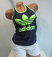 """Майка """"борцовка"""" женская синяя с салатовым  Adidas (8835) код 28д"""