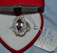 Серебряное кольцо 925 пробы с сиреневым и белыми фианитами, фото 1