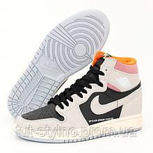 Мужские кроссовки в стиле Nike Air Jordan 1 Retro High, кожа, серый, черный, розовый, Вьетнам