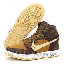 Женские кроссовки в стиле Nike Air Jordan 1 Retro High x LV x Off-White, кожа, коричневый, Китай