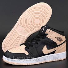 Женские кроссовки в стиле Nike Air Jordan 1 Retro Mid, кожа, черный, бежевый, Вьетнам