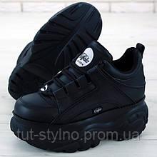 Женские кроссовки в стиле Buffalo Classic Low Leather, кожа, черный, Вьетнам