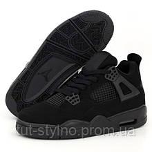 Мужские кроссовки в стиле Nike Air Jordan 4 Retro, кожа, черный, Вьетнам