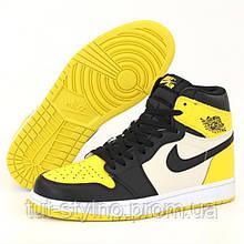 Мужские кроссовки в стиле Nike Air Jordan 1 Retro High, кожа, желтый, черный, белый, Вьетнам