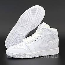 Мужские кроссовки в стиле Nike Air Jordan 1 Retro High, кожа, белый, Китай