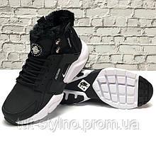 Мужские зимние кроссовки в стиле Nike Air Huarache x ACRONYM City, (с мехом), черно-белый, Вьетнам
