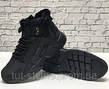 Мужские зимние кроссовки в стиле Nike Air Huarache x ACRONYM City, (с мехом), черный, Вьетнам